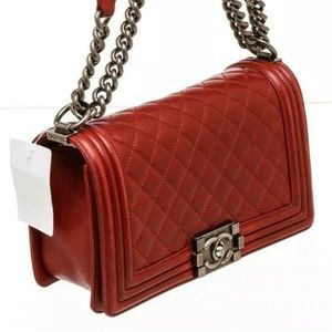 Chanel Old Medium Boy bag Red Lambskin Leather